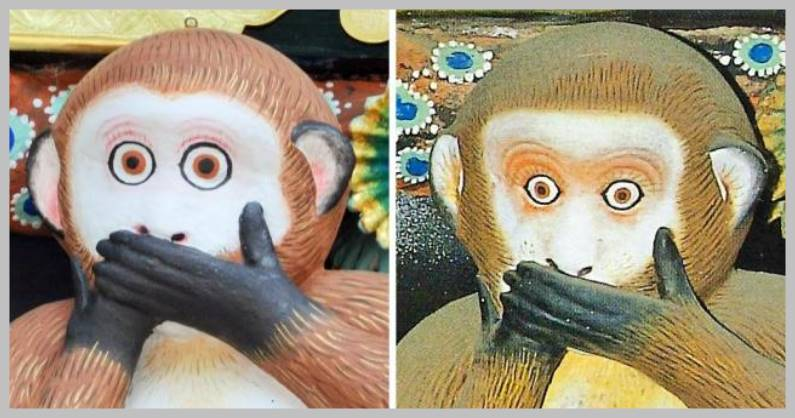 日光東照宮の「見ざる・言わざる・聞かざる」の猿像